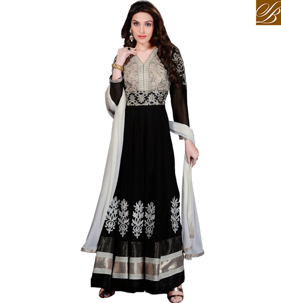 VALUE FOR MONEY BLACK MARRIAGE PARTY WEAR ANARKALI SALWAR KAMEEZ