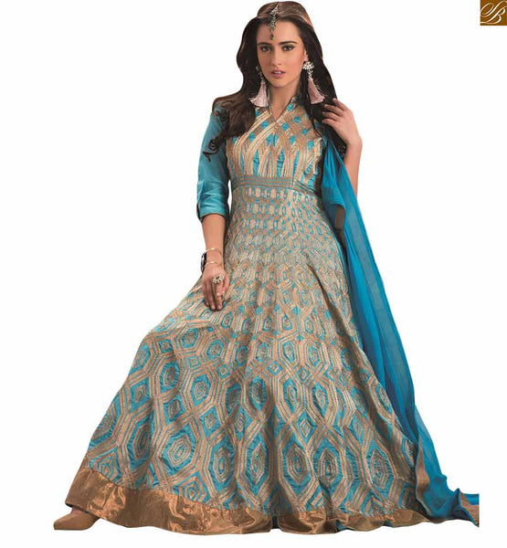 GREY COLORED LONG ANARKALI WITH SKY BLUE EMBROIDERY VDAAR503
