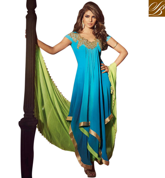BEWITCHING BLUE PRIYANKA CHOPRA SALWAR SUIT JNHR5030 - StylishBazaar - Priyanka Chopra, Priyanka Chopra Collection, buy Anarkali Dress online, anarkali dress online shopping in india, buy anarkali suits online, anarkali dress designs, latest designer anarkali suits