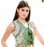 New Indian Collection Lehenga Choli With Gown Type Latest Designer Ghagra Choli Cream Pure Jute Silk Designer Top Paired WIth Light Green Pure Cotton Satin Latest Style Palazzo Cream And Light Green Dupatta.