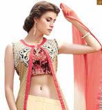 Eye Catching Indo Western Style Designer Long Choli Lahenga Look Chaniya Choli Cream Pure Jute Silk Designer Top Paired With Cream Pure Cotton Satin Choli Style Palazzo Along With Cream And Pink Pure Chiffon Beautiful Dupatta