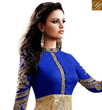 5033i BUY NEW STYLE GIRLS FROCK ONLINE BLUE & GOLDEN DRESS CHURIDAR BOTTOM