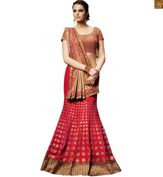 PINK DESIGNER HEAVY SAREE WITH LOVELY RED BLOUSE FOR WEDDING WEAR BY STYLISH BAZAAR