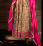 5034C beige net wedding anarkali with pin border and dupatta