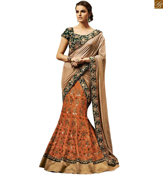 EXQUISITE ORANGE DESIGNER SARI WITH LOVELY GREEN BLOUSE BY STYLISH BAZAAR