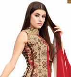 New Indian Jacket Style Long Choli Lehenga Designs Shopping Buy Online Cream Pure Jute Silk Desinger Jacket Type Top With Cream Pure Cotton Satin Palazzo With Cream. This 4 Pc Set Is Completed With Red Pure Chiffon Dupatta