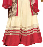 Cream Pure Jute Silk Desinger Jacket Type Top With Cream Pure Cotton Satin Palazzo With Cream. This 4 Pc Set Is Completed With Red Pure Chiffon Dupatta Long Choli Lehenga Desings Of Jacket Style Lengha Online India