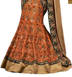EXQUISITE ORANGE DESIGNER SARI WITH LOVELY GREEN BLOUSE FROM STYLISH BAZAAR THIS DIWALI
