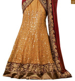 STYLISH BAZAAR GEORGEOUS MAROON AND BEIGE COLOURED EMBROIDERED DESIGNER SAREE WITH A HEAVY CREAM BLOUSE