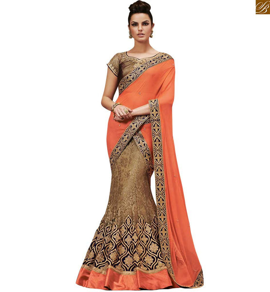 ELEGANT ORANGE AND BROWN AWESOME DESIGNER SARI WITH A COFFEE BLOUSE RTNVD5037