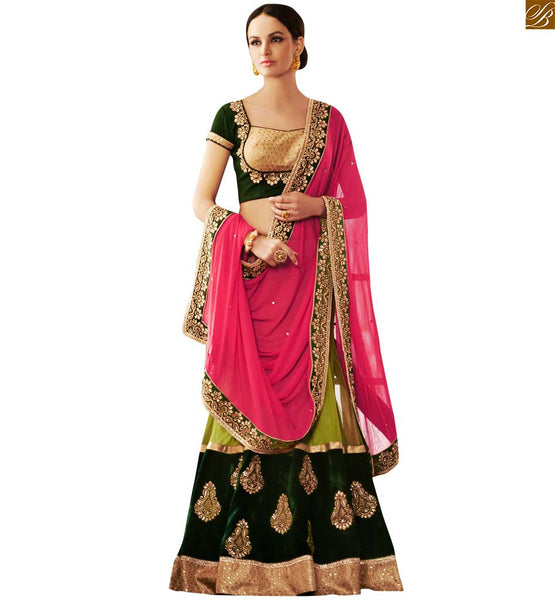 STYLISH BAZAAR SOPHISTICATED GREEN COLORED EMBROIDERED HEAVY SAREE COMPLEMENTED WITH GREEN BLOUSE