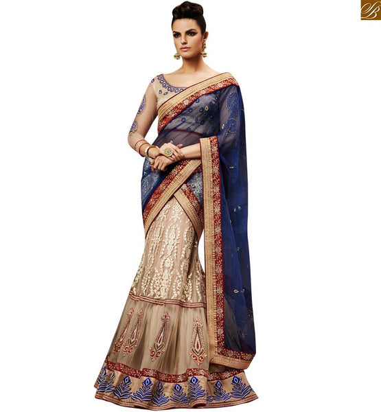 SHOP ONLINE FOR CLASSY CREAM COLOURED HEAVY DESIGNER SARI ALONG WITH CREAM BLOUSE BY STYLISH BAZAAR