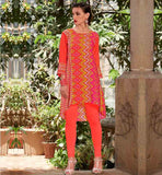 KURTI NECK DESIGN FOR ALL DAY LONG COMFORT CASUAL WEAR PEACH PRINTED KURTHI WITH UP AND DOWN PATTERN