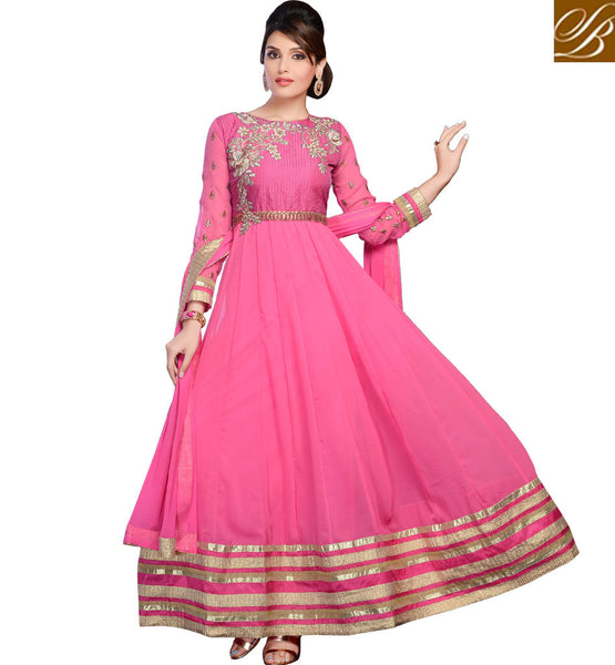 BEST RATE PINK FULL LENGTH GEORGETTE WEDDING PARTY WEAR ANARKALI SUIT