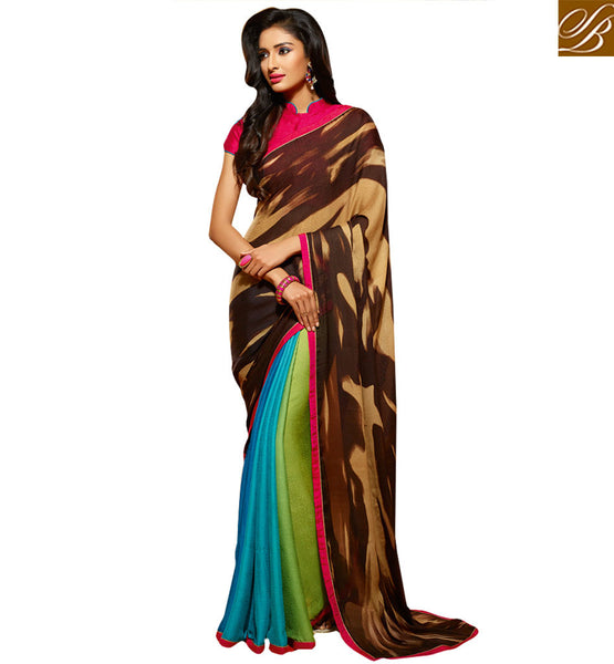 STYLISH BAZAAR MAGNIFICENT VIBRANT COLOR FILLED PRINT SAREE HAW503
