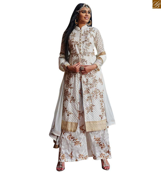 Off-White silk-jacquard eye-catching Silver color floral embroidered exclusive style salwar kameez