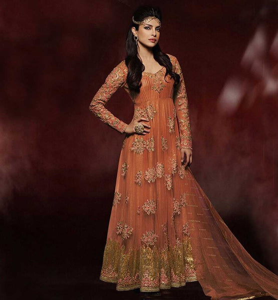 SUPERHIT HEROINE PRIYANKA CHOPRA ORANGE WEDDING WEAR ANARKALI DRESS