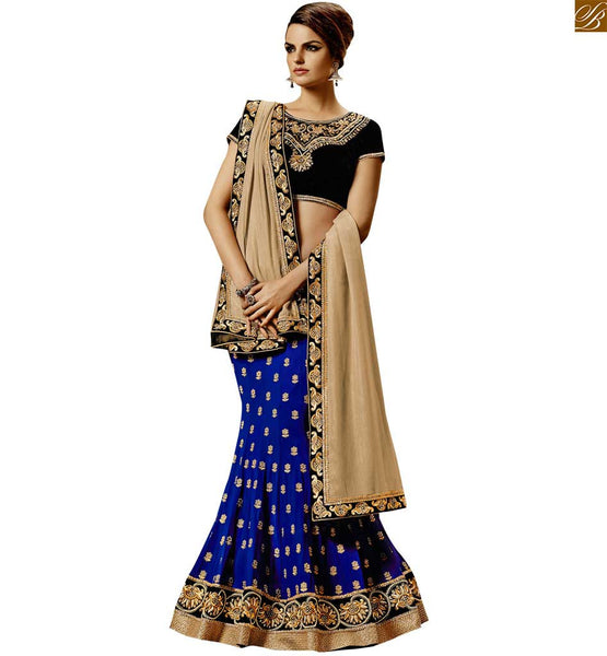 DESIGNER PRETTY BLUE COLORED DESIGNER EMBROIDERED SAREE WITH BLACK BLOUSE BY STYLISH BAZAAR