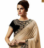 SHOP ONLINE FOR PRETTY BLUE COLORED DESIGNER EMBROIDERED SAREE WITH BLACK BLOUSE FROM THE HOUSE OF STYLISH BAZAAR
