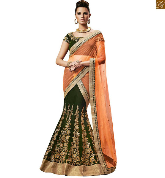 STYLISH BAZAAR WEDDING DAZZLING GREEN COLORED DESIGNER EMBROIDERED SAREE WITH MATCHING BLOUSE