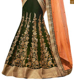 DAZZLING GREEN COLORED DESIGNER EMBROIDERED SAREE WITH MATCHING BLOUSE ON STYLISH BAZAAR
