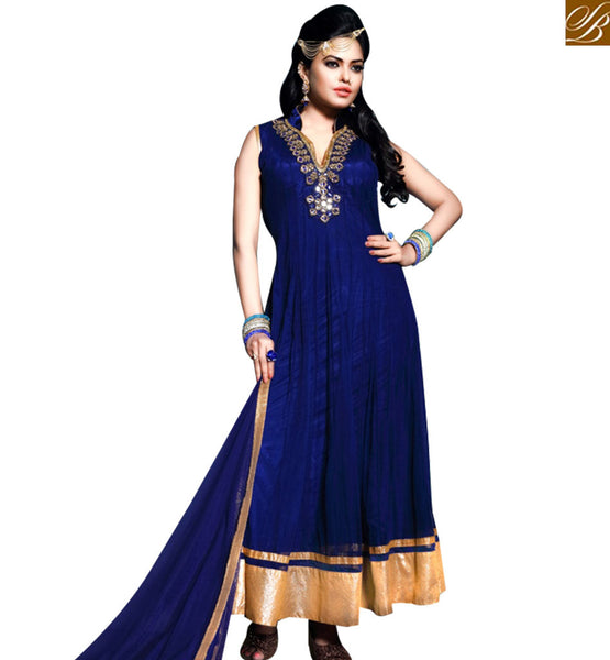 STYLISH BAZAAR DAZZLING BLUE GEORGETTE ANARKALI SALWAR KAMEEZ WITH MODERN NECK STYLE ABYSW5049