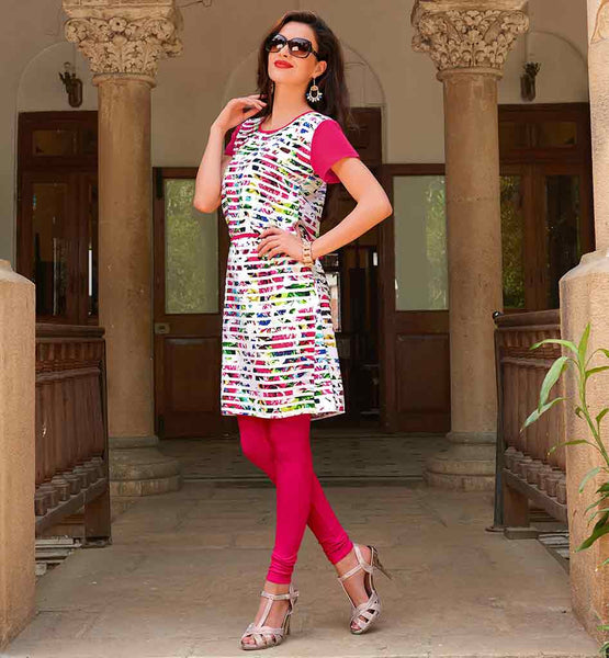 SHIRT DESIGN ONLINE FOR WOMEN TO WEAR WITH LEGGINGS DAILY WEAR OFF-WHITE CREPE KURTHI WITH BRIGHT COLORS PRINT