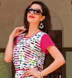 DAILY WEAR OFF-WHITE CREPE KURTHI WITH BRIGHT COLORS PRINT TRENDY KURTIS FOR WOMEN ONLINE SHOPPING INDIA