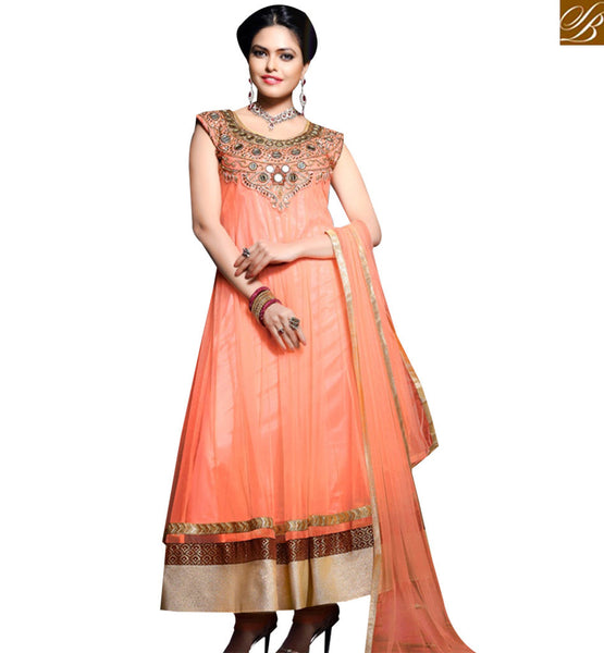 STYLISH BAZAAR DELIGHTFUL ORANGE GEORGETTE NET ANARKALI SALWAR KAMEEZ WITH SLEEVELESS ABYSW5055