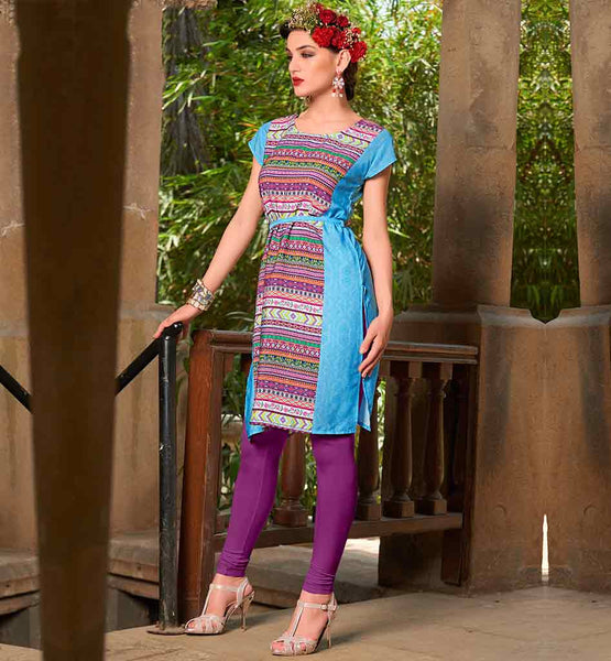 SHIRT DESIGN ONLINE STYLISH TUNICS FOR JEANS SIMPLE YET STYLISH ABSTRACT PRINTED SKY BLUE CREPE FABRIC KURTHI
