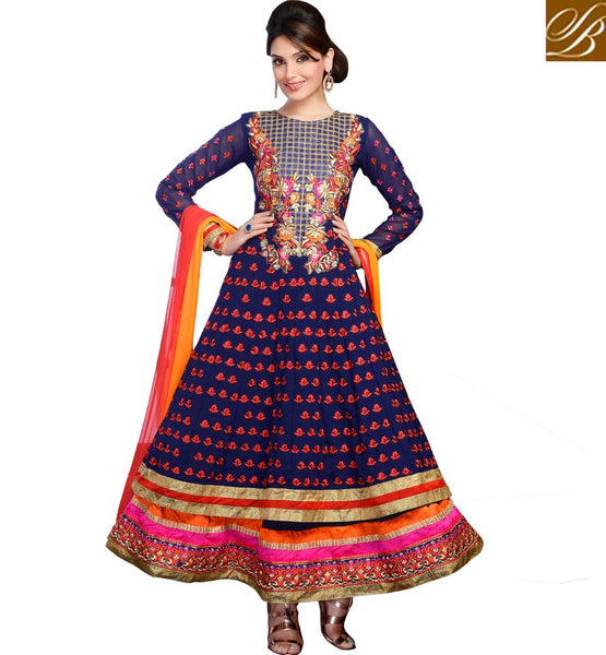 PURCHASE SANGEET PARTY WEAR EMBROIDERED ANARKALI DRESS AT CHEAP RATES