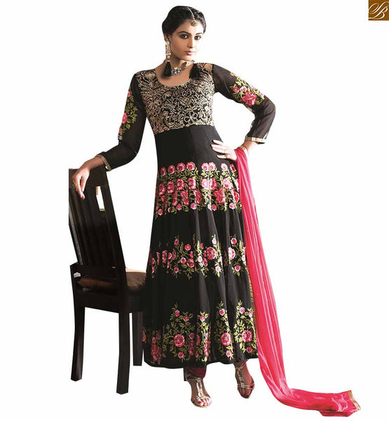 BLACK DESIGNER HEAVY EMBROIDERED ANARKALI DRESS VDAAR506