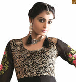 Black georgette heavy floral embroidery work anarkali dress for party wear
