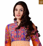 RAJWADI ORANGE BRASSO FULL LENGTH ANARKALI DRESS