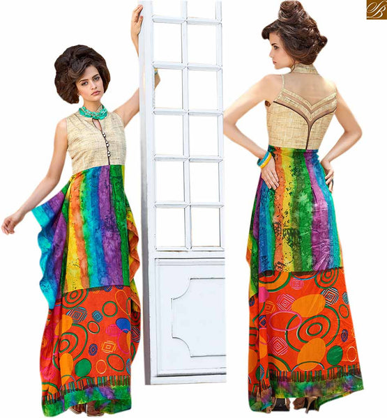 DASHING STYLE OF PAKISTANI KURTI DESIGNS COLLECTION OF PRINT WITH CLASSY LOOKING COLLAR AND BACKLESS PATTERN  Amazing Printed Designer Cream, Blue and Green Pure Cotton  Pakistani Kurti