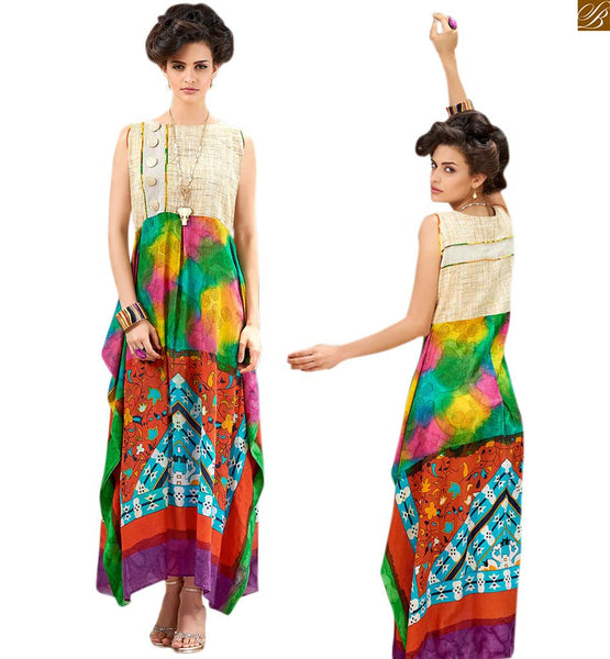 PRINTED COTTON  LONG KURTI DESIGNS A SMART COMBINATION OF JUTE SILK WITH DIFFERENT STYLE OF PATTERNS  Cream, Pink and Green Printed Jute Silk Long Kurtis Designs of Current Fashion Trend