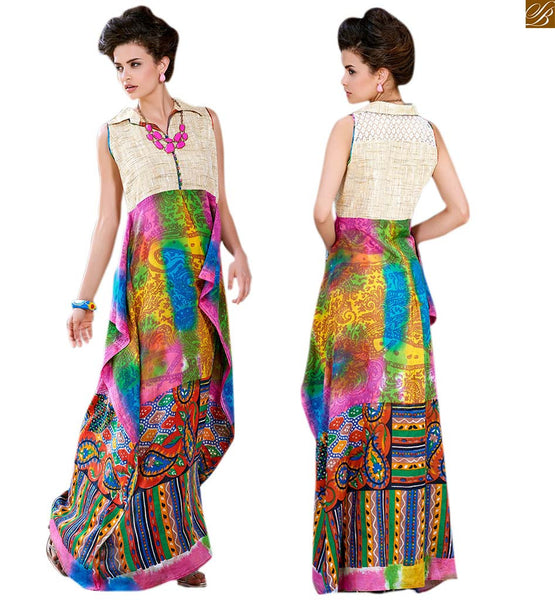 CHARMING LONG DESIGNER KURTIS PATTERNS OF NEW STYLE PRINTED WITH EMBROIDERY ON NECK AND COLLAR   Cream Jute Silk Colorful Printed Pure Cotton Designer Kurti With New Style of Neck Line
