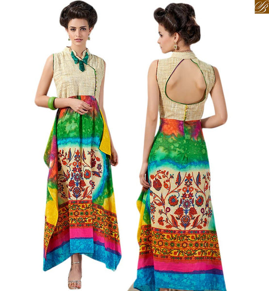 LONG KURTIS DESIGN OF PRINT WITH STYLISH PATTERNS ON NECK AND BACK ESPECIALLY CRAFTED DESIGNER LONG KURTI MADE FROM PREMIUM JUTE FABRIC WITH MULTICOLOR PRINTED COTTON STYLISH PATTERNS AT BOTTOM