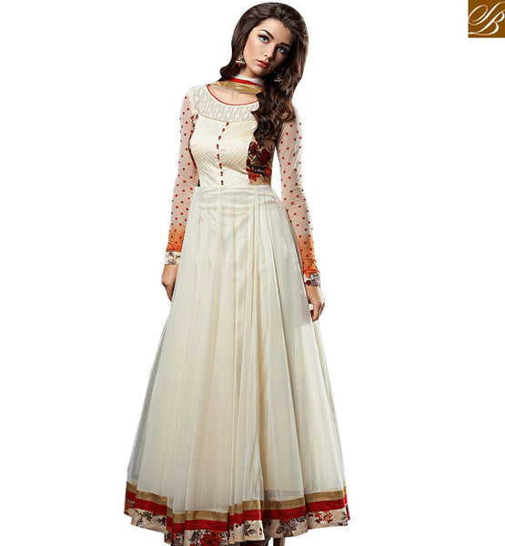 STYLISH BAZAAR ASTONISHED WHITE COLOUR GEORGETTE NET ANARKALI SALWAR KAMEEZ WITH MATCHING DUPATTA. WELLCRAFTED EMBROIDERY ABYSW5066