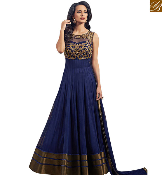 STYLISH BAZAAR APPRECIATING NAVY BLUE GEORGETTE NET ANARKALI SALWAR KAMEEZ HAVING EMBEDDED FEATURE ABYSW5067