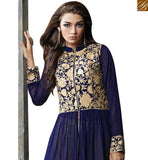 FROM STYLISH BAZAAR MESMERIC BLUE GEORGETTE ANARKALI SALWAR KAMEEZ WITH NECKLINE AND LACE BRODER ABYSW5068