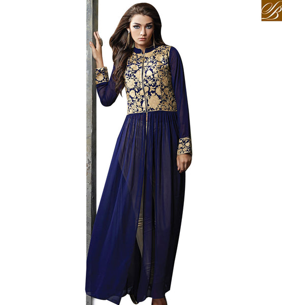 STYLISH BAZAAR MESMERIC BLUE GEORGETTE ANARKALI SALWAR KAMEEZ WITH NECKLINE AND LACE BRODER ABYSW5068