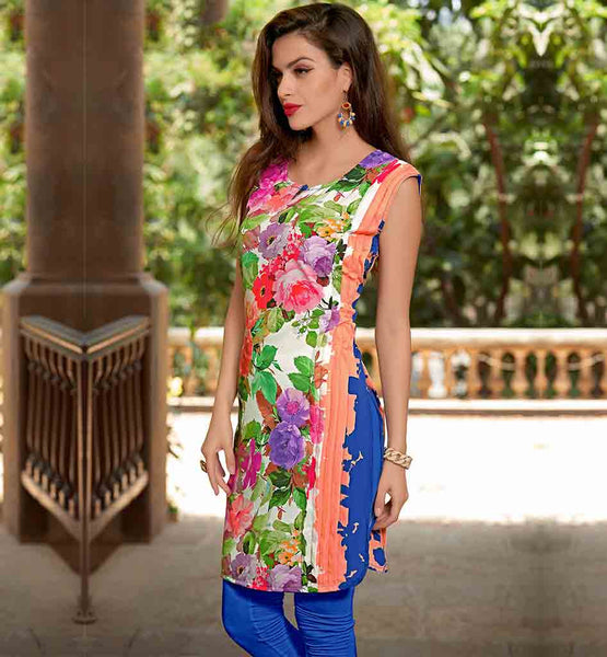 DESIGNER KURTI PATTERNS FLORAL PRINTED TRENDY LOOK CASUAL COLLECTION MULTICOLOR FLORAL PRINT TUNIC WITH NICE PATTERNS