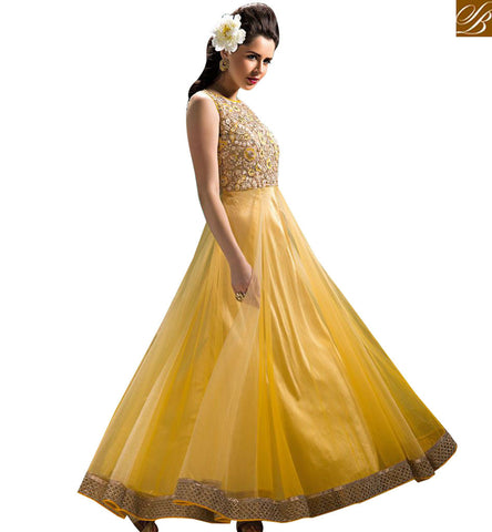 STYLISH BAZAAR SONOROUS YELLOW FLOOR LENGTH ANARKALI SALWAR KAMEEZ WITH BEAUTIFUL EMBROIDERY ABYSW5070