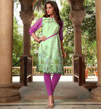 LATEST KURTI DESIGNS WITH CONTRAST PLEATED SLEEVES DAILY WEAR LIGHT GREEN CREPE FABRIC PRINTED TUNIC TOP