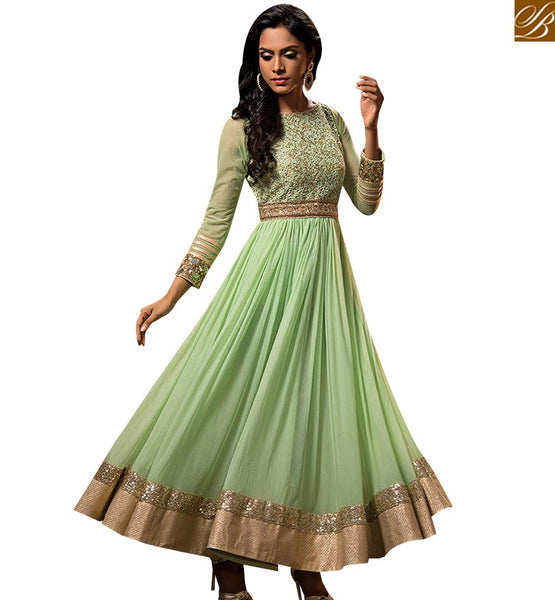 STYLISH BAZAAR LOVELY LIGHT GREEN GEORGETTE NET ANARKALI SALWAR KAMEEZ WITH HAND WORK AND BEAUTIFUL LACE BRODER ABYSW5080
