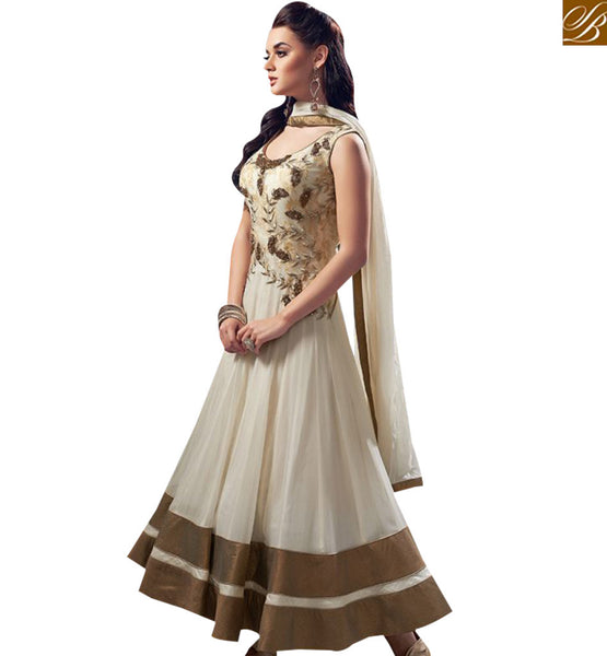 STYLISH BAZAAR PRETTY CREAM GEORGETTE ANARKALI SALWAR KAMEEZ WITH EMBROIDERY COMES WITH MATCHING DUPATTA AND BOTTOM ABYSW5081