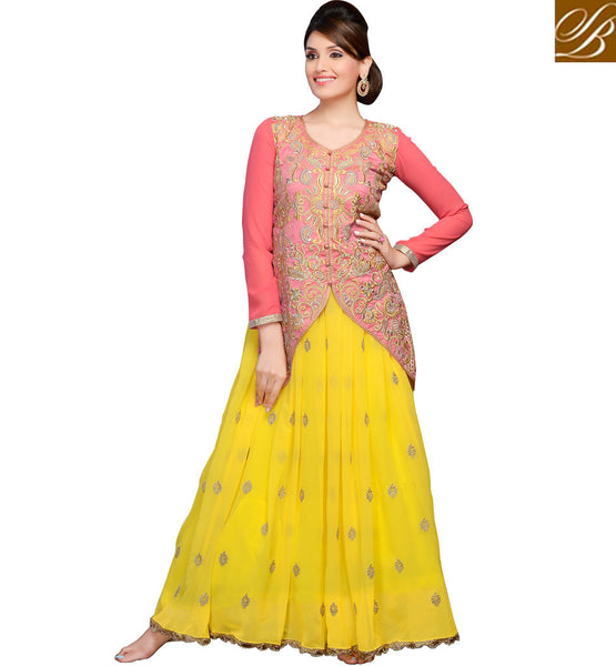 LOVELY COMBINATION YELLOW PEACH LEHENGA WITH LONG CHOLI STYLE DRESS