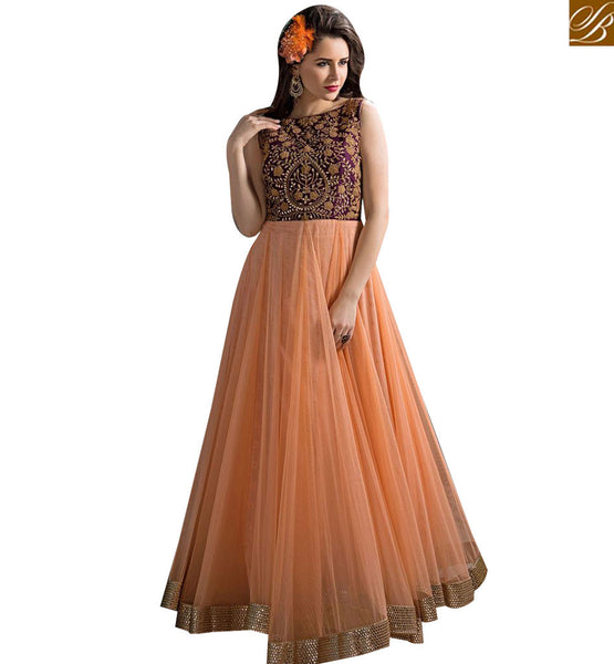 STYLISH BAZAAR ELEGANT ORANGE GEORGETTE NET ANARKALI SALWAR KAMEEZ WITH EMBROIDERY ABYSW5098