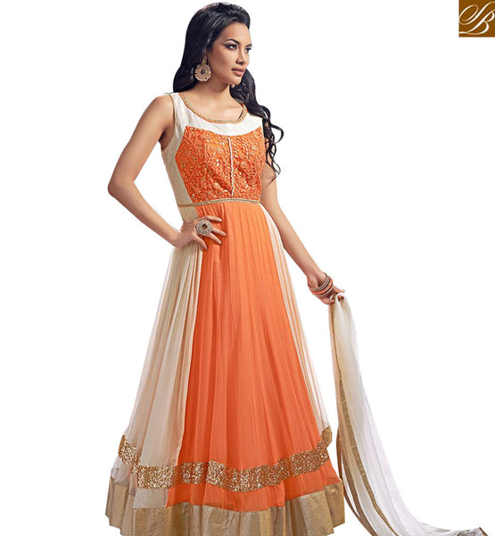 STYLISH BAZAAR MAGNIFICENT ORANGE CREAM GEORGETTE NET ANARKALI SALWAR KAMEEZ WITH LACE WORK ABYSW5099